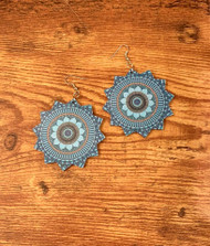 "re sell for 15.00 or more Painted wood mandala Earrings Lightweight/ corn flower blue. surgical steel earwires 2 3/8"" Style #CBMWE022519"