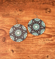 "Painted wood mandala Earrings Lightweight/ Navy and sky blue surgical steel earwires 2 3/8"" Style #NBME022519"