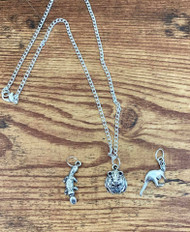 """resell for 18.00 or more Little Girls Necklace set 6 Silver tone 16"""" chain 3 pewter charms: Hamster, Kangaroo and Platypus Style #LGNS6022619"""