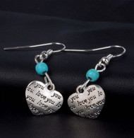 "resell for 15.00 or more  Pewter heart ""I love you"" , turquoise magnesite 1.5"" long Style # ILYHE022819"