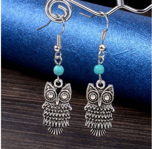 "resell for 15.00 or more  Pewter Owl , turquoise magnesite 1.5"" long Style # TMOE022819"