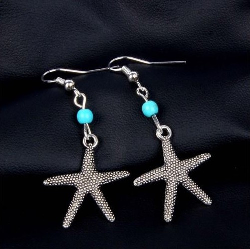 """resell for 15.00 or more  Pewter starfish, turquoise magnesite 1.5"""" long Style # TMSFE022819"""