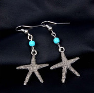 "resell for 15.00 or more  Pewter starfish, turquoise magnesite 1.5"" long Style # TMSFE022819"