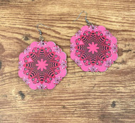 """resell for 15.00 or more Painted wood Mandala earrings. Lightweight  Surgical steel ear wires 2 3/8 x 2 3/8"""" Style #PWME030119"""
