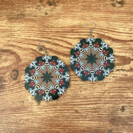"resell for 15.00 or more Painted wood Mandala Earrings. Lightweight. Black grey burgundy. 2 3/8 x 2 3/8 "" Style #BGWME030119"