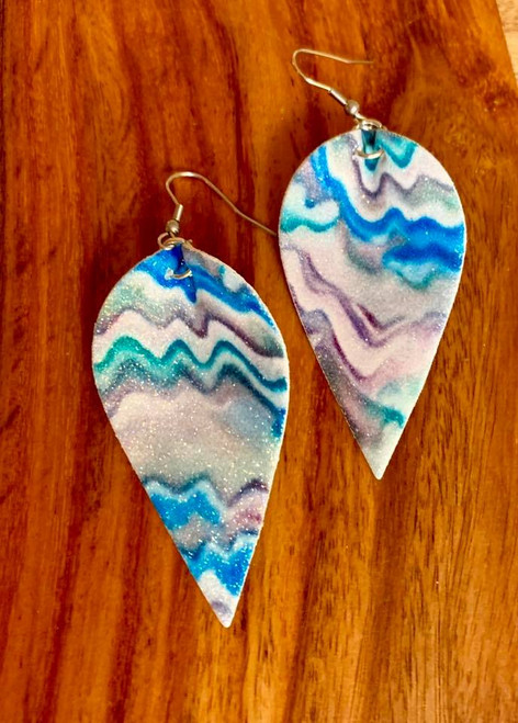 """resell for 18.00 or more  PU Leather Leaf Earrings. Multi Ripple color, glitter, blues, grey. 6.3cm(2 4/8"""") x 3.1cm(1 2/8"""") Style #BGLE030119"""