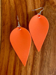 "resell for 18.00 or more  PU Leather Leaf Earrings. Orange  6.3cm(2 4/8"") x 3.1cm(1 2/8"") Style #OLE030119"