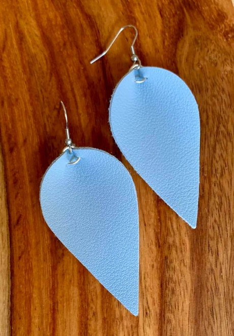 "resell for 18.00 or more  PU Leather Leaf Earrings. Baby Blue   6.3cm(2 4/8"") x 3.1cm(1 2/8"") Style #BBLE030119"