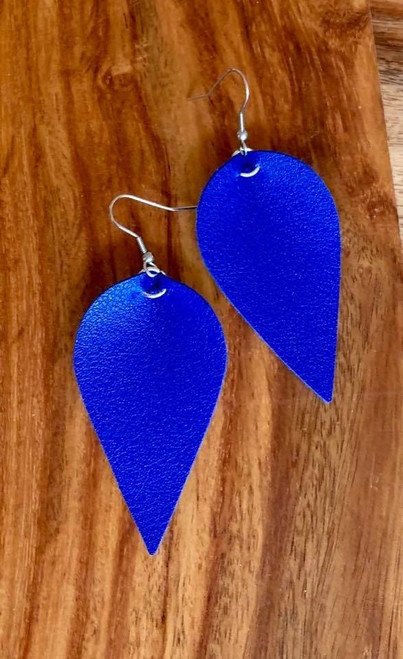 "resell for 18.00 or more  PU Leather Leaf Earrings. Royal  Blue   6.3cm(2 4/8"") x 3.1cm(1 2/8"") Style #RBLE030119"