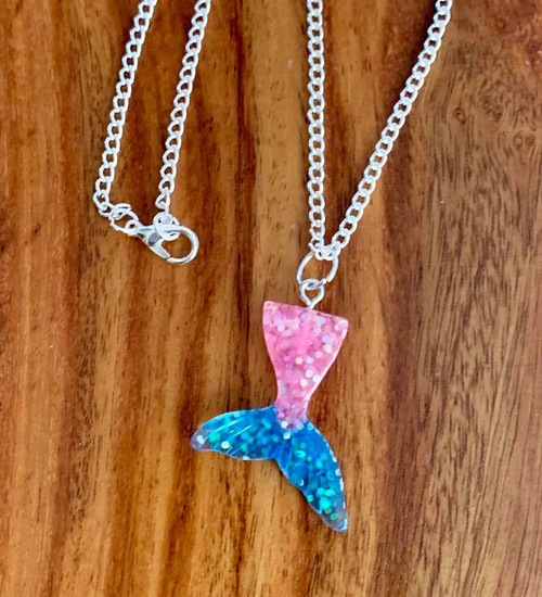 """Little Girls Mermaid Necklace. 16"""" silver tone chain Mermaid tale 1 3/8"""" x 1"""" Resin glitter/ Pink / Teal Style #LGMN030819"""