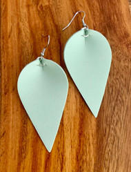 """Mint Leatherette Earrings 6.3cm(2 1/2"""") x 3.1cm(1 1/4"""") Surgical Steel Earwires Style #MLE030819"""