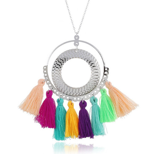 "5.00 resell for 15.00 or more Boho Chic Sweater Necklace Long Silver Tone Multi Color Tassel Circle Ring 60cm(23 5/8"") long Style #MCTBCN031219"