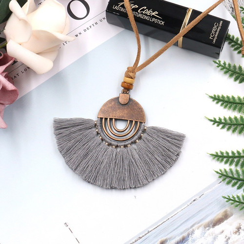 """7.00 resell for 21.00 or more Boho Chic  Necklace Long Antique Bronze Gray Tassel 78cm(30 6/8"""") long Style #BCGTN031419"""