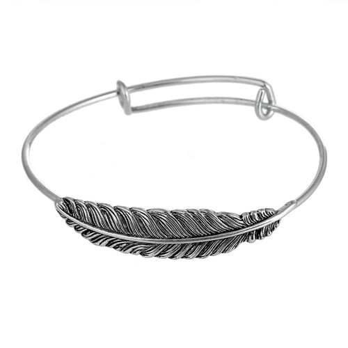 """5.00 resell for 15.00 or more Silver Tone Expandable Bangle Bracelet, Double Bar, Feather Antique Silver Adjustable From 21cm(8 2/8"""") long *use with clip on baubles Style #STFBB031419"""