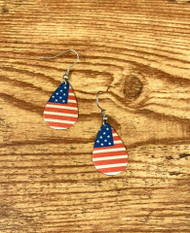 "$5.00 resell for $15.00 or more American Flag Enameled Teardrop Earrings 1 1/8"" x 3/4"" Surgical Steel Earwires Style #AFE031619"