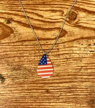 "$5.00 resell for $15.00 or more American Flag Necklace 20"" plated ball chain, plus ext. Style #AFN031619"