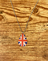 """$5.00 resell for $15.00 or more Union Jack Necklace 1 1/8 x 3/4"""" pendant British Flag 20"""" plated ball chain, plus ext. Style #UJN031619"""