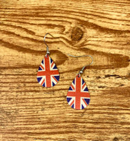 """$5.00 resell for $15.00 or more Union Jack Enameled Teardrop Earrings 1 1/8"""" x 3/4"""" Surgical Steel Earwires Style #UJE031619"""
