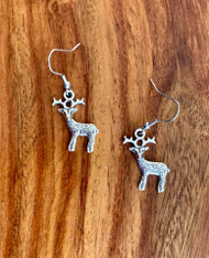 "$3.00 resell for $9.00 or more 3D Pewter Deer Earrings Surgical Steel earwires 1"" x 3/4"" Style #PDE031619"