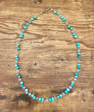 """20.00  resell for 40.00 or more 20"""" floating necklace genuine fresh water pearls/ dyed lt teal/ crystal Style #LTFN031919"""