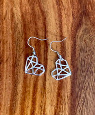 """4.00 resell for 12.00 or more Origami Heart Earrings 3/4"""" x 5/8"""" Surgical Steel Earwires Style #OHE032019"""
