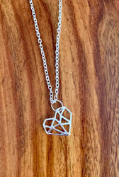 "$4.00 resell for 12.00 or more 24"" silver tone chain Origami Heart Necklace 3/4"" x 5/8"" Style #OHPN032019"