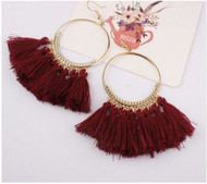"""$6.00 resell for $18.00 or more Wine red tassel gold tone boho chic earrings 3"""" long Style #WRTE032019"""