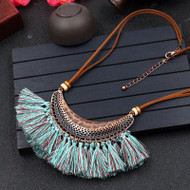 """resell for 45.00 or more Cotton Tassel Necklace Antique Bronze Teal Brown Half Moon Faux Suede. 19"""" plus ext chain. Style #STNTB032019"""