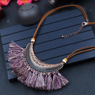 "esell for 45.00 or more Cotton Tassel Necklace Antique Bronze Purple Brown Half Moon Faux Suede. 19"" plus ext chain. Style #PTSN032019"