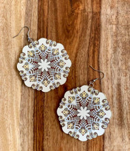 "$5.00 resell for $15.00 Beige White Brown  Mandala Earrings Painted wood earrings 2 3/8""x 2 3/8"" Surgical steel earwires"