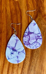 "$6.00 resell for 18.00 or more Purple Marble look Leatherette Earrings 2 1/4"" x 1 1/4"" Style #PMLE032119"