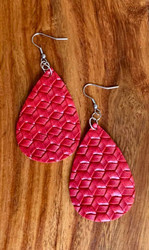 "$6.00 resell for 18.00 or more Red Woven look Leatherette Earrings 2 1/4"" x 1 1/4""  Style #RWLE032119"