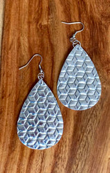 "$6.00 resell for 18.00 or more Silver Metallic Woven look Leatherette Earrings 2 1/4"" x 1 1/4""  Style #SMWLE032119"