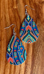 "$6.00 resell for 18.00 or more Bright Multi Ornate l Leatherette Earrings 2 1/4"" x 1 1/4""  Style #BMOLE032119"