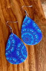"$6.00 resell for 18.00 or more Blue  Multi Ornate Leatherette Earrings 2 1/4"" x 1 1/4""  Style #BLMLE032119"
