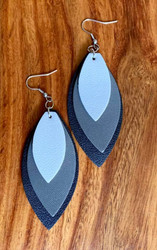 "$8.00 resell for $24.00 or more Triple Layered Leaf Leatherette Earrings White/ Grey/ Black 2 3/4"" x 1 1/4"" Style #WGBLE032119"