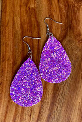 "$7.00 resell for 21.00 Resell for 21.00 or more Hot Pink  pailette leatherette earrings 2 1/4"" x 1 3/8"" Surgical steel ear wires Style #HPPLE032119"