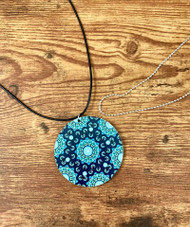 "2 necklaces to wear the pendant the way you want! $6.00 resell for $18.00 or more Wood Mandala Blue Multi Pendant 2 3/8"" 20"" Black Polyester cord plus ext chain 30"" Ball Chain silver plated copper. Style #MBWMPNS032219"