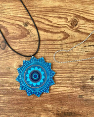 "2 necklaces to wear the pendant the way you want! $6.00 resell for $18.00 or more Wood Mandala Bright Blue Multi Pendant 2 3/8"" 20"" Black Polyester cord plus ext chain 30"" Ball Chain silver plated copper. Style #BBWMNS032219"
