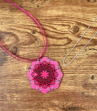"2 necklaces to wear the pendant the way you want! $6.00 resell for $18.00 or more Wood Mandala Hot Pink Pendant 2 3/8"" 20"" Pink Organza cord plus ext chain 30"" Ball Chain silver plated copper. Boho Chic Style #HPWMNS032219"