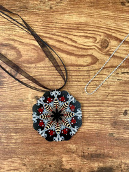 "2 necklaces to wear the pendant the way you want! $6.00 resell for $18.00 or more Wood Mandala Black Grey Burgundy Pendant 2 3/8"" 20"" Black Organza cord plus ext chain 30"" Ball Chain silver plated copper. Boho Chic Style #BGBWMNS032219"