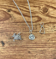 "Little Girls Necklace Set 7 $6.00 resell for $18.00 or more 1 16"" silver tone chain 3 pewter charms to mix or wear separate! Turtle, Emoji and Heart  Style #LGNS7x032219"