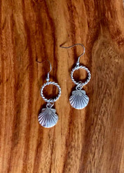 "4.00 resell for 12.00 or more 2"" x 1/2"" Pewter seashells Surgical Steel Earwires Style #PSE032319"