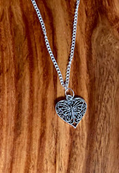 "Butterfly Heart Pendant Necklace 4.00 resell for 12.00 or more Pewter pendant 7/8"" 18"" silver tone chain Style #BHPN032319"