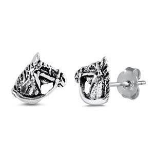12.00 resell for 36.00 or more Sterling Silver Horse Shaped Small Stud Earrings approx 5mm Style #SSHHPE032519