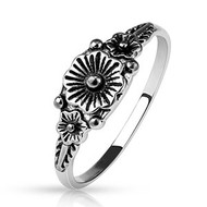 5.00 resell for 15.00 or more Rhodium Plated Brass Triple Flower Cast Ring size 9 (other sizes available) Style #TFR9x032619