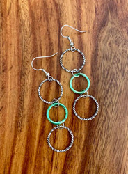 """4.00 resell for 12.00 or more 3 ring drop earrings, pewter and bright green. Surgical steel ear wires 2 3/4""""  Style #3RDE032719"""