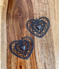 "$5.00 resell for $15.00 or more (see matching necklace #CHN091418)  Heart/  Antique Copper Filigree 65mm(2 1/2"") x 59mm(2 3/8"") Copper ear wires Style #CFHE032719"