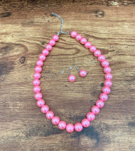 """8.00 resell for 24.00 or more Pink Pearl Set 16"""" plus 2"""" ext  Bubble Gum Pink glass pearls 10mm Style #PKGPS032719"""