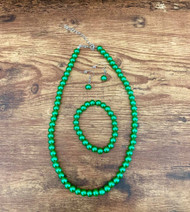 """10.00 resell for 30.00 18"""" plus 2"""" ext chain necklace 7.5"""" bracelet stretch Earrings Green glass pearl set 6mm Style #GGPS032819"""